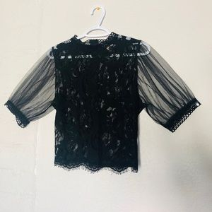 Black lace sheer puff sleeves top
